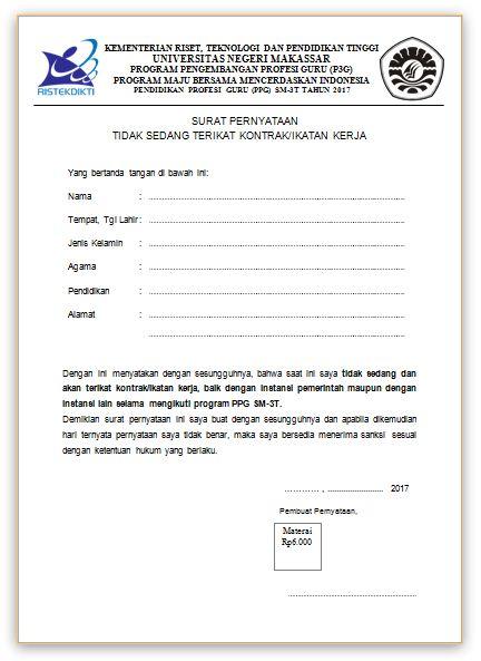 Contoh Surat Pernyataan Tidak Sedang Terikat Kontrakikatan