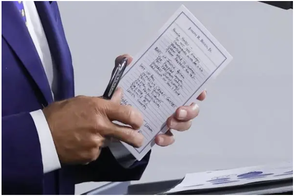 Joe Biden accidentally reveals cheat sheets he used during his  first press conference as POTUS