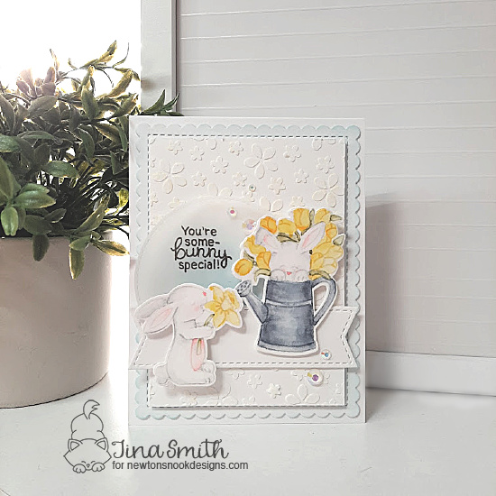 Some-bunny Special Card by Tina Smith | Hop Into Spring Stamp Set and Petite Flowers Stencil by Newton's Nook Designs #newtonsnook #handmade