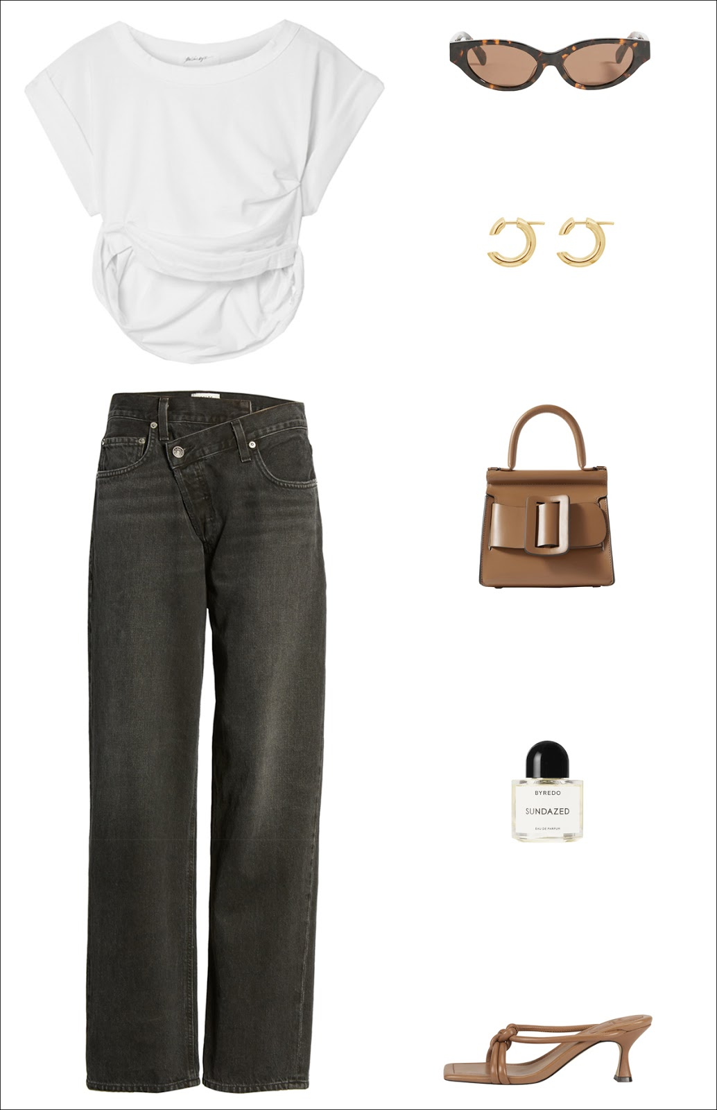 Cool Summer Outfit Idea — Cropped White T-Shirt, Cat-Eye Sunglasses, Edgy Hoop Earrings, Taupe Mini Bag, Criss-Cross Front Black Jeans, and Light Brown Heeled Slide Sandals