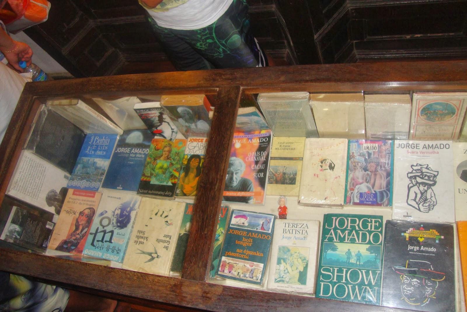 Obras de Jorge Amado publicadas em diversos idiomas e expostos na Casa Jorge Amado, em Ilhéus