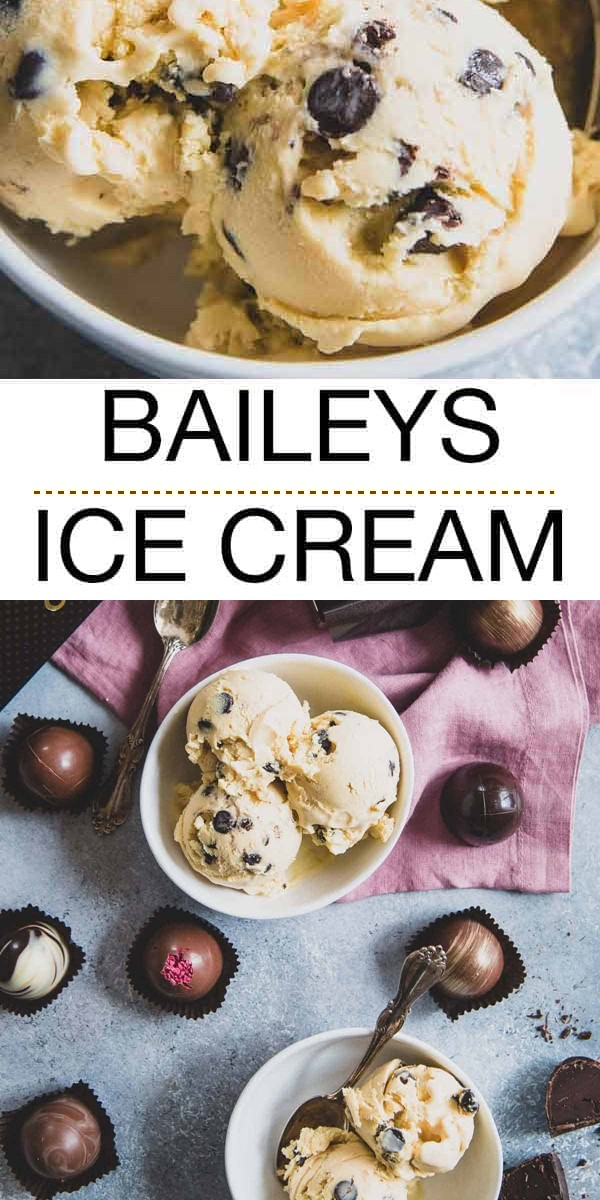 Baileys Ice Cream with Chocolate Chips #icecreamrecipes