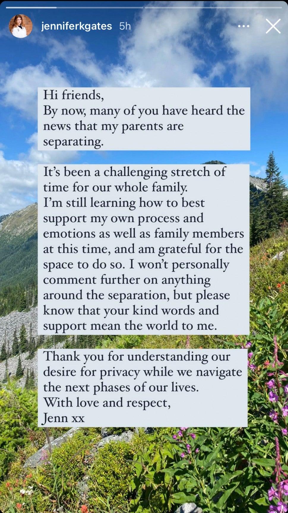 Bill and Melinda Gates 'daughter Jennifer reacts to her parents' divorce