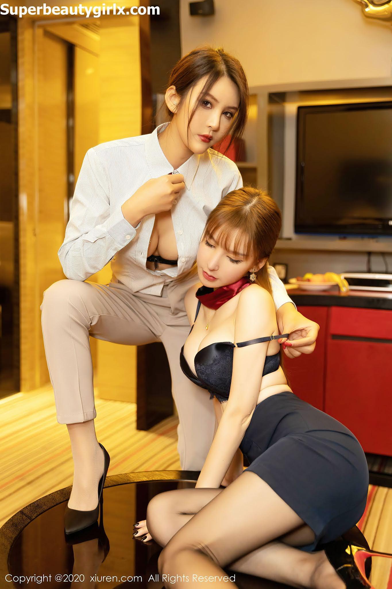 XIUREN-No.2857-Zhou-Yuxi-Sandy-and-Emily-Superbeautygirlx.com