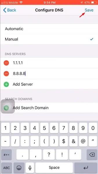 Tambahkan DNS server dan simpan pengaturannya