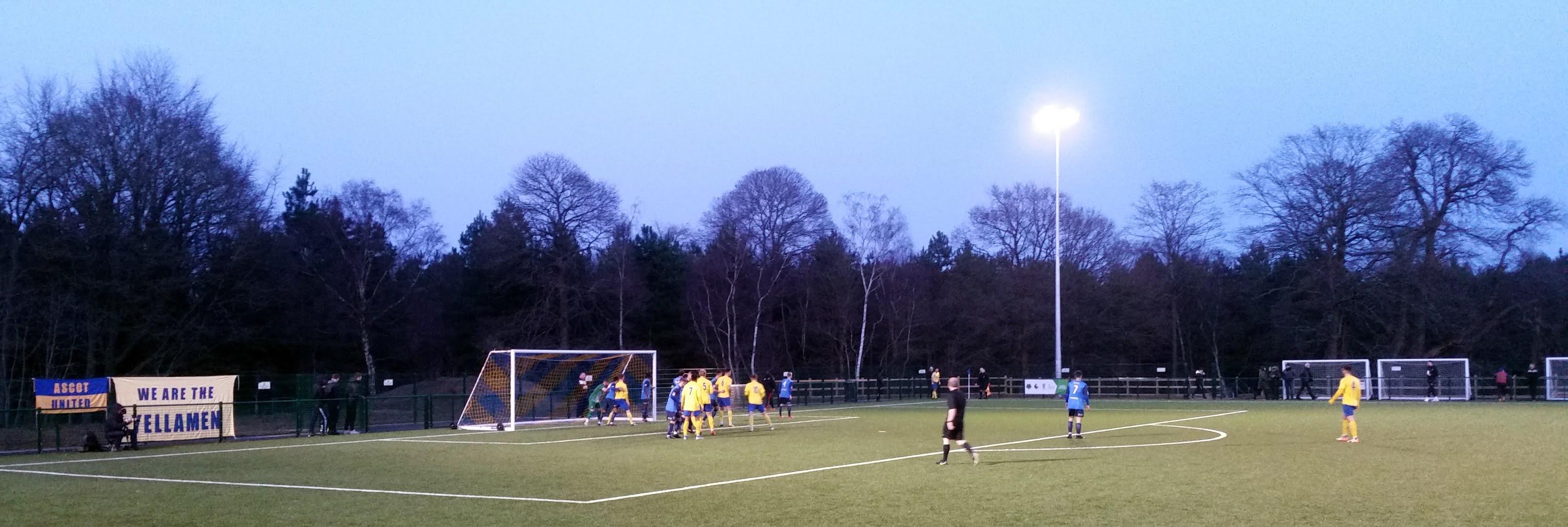 An Ascot United corner against Knaphill