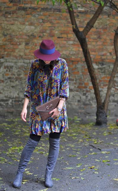 boho dress, boho styl, kapelusz, kapelusze, poznań streetstyle, street style jesień, boho style, sukienki,