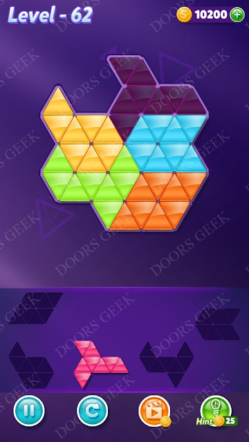 Block! Triangle Puzzle 5 Mania Level 62 Solution, Cheats, Walkthrough for Android, iPhone, iPad and iPod
