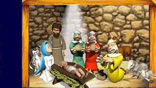 O reis magos visitam jesus na estrebaria e leva presentes