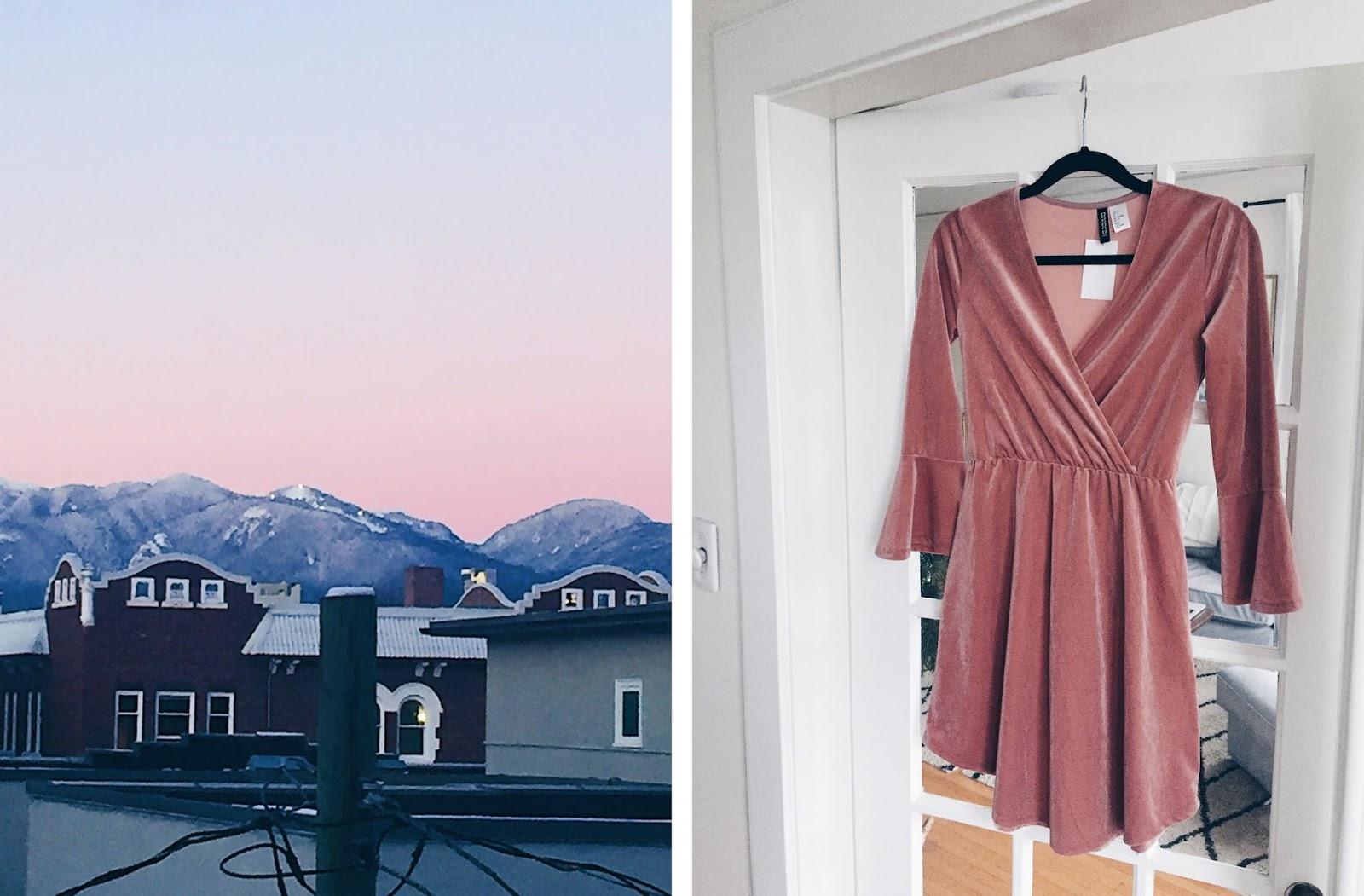 blush velvet dress from H&M