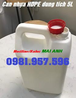 Can nhựa 5L đựng hóa chất, can nhựa HDPE nguyên sinh 5L