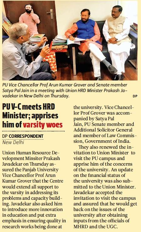 PU Vice Chancellor Prof Arun Kumar Grover and Senate Member Satya Pal Jain in a meeting with Union HRD Minister Prakash Javadekar in New Delhi on Thursday.