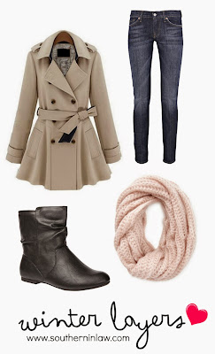 Winter Layers Outfit by Southern In-Law  Beige Peacoat Jacket, Jeans, Ankle Boots and Pink Infinity Scarf