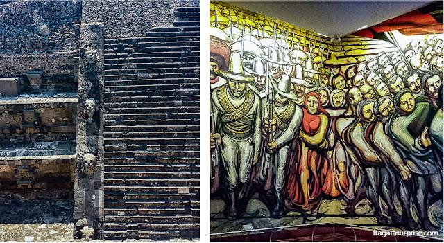 """México: Templo de Quetzalcoatl em Teotihuacan e o mural """"Alegoria da Revolução Mexicana"""", no Castelo de Chapultepec"""