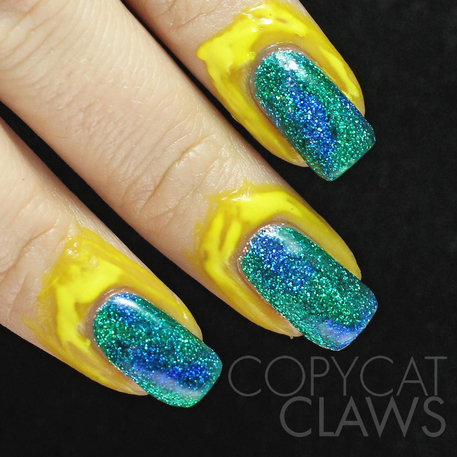 Copycat Claws Blue Color Block Nail Art: Copycat Claws: Nail Stamping Over Glitter And Color4Nails