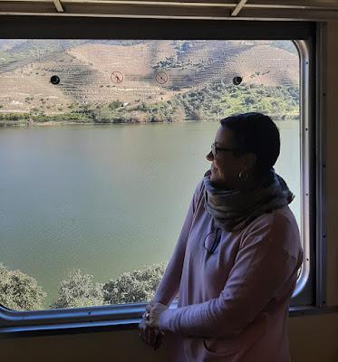 mulher olhando a paisagem pela janela do comboio