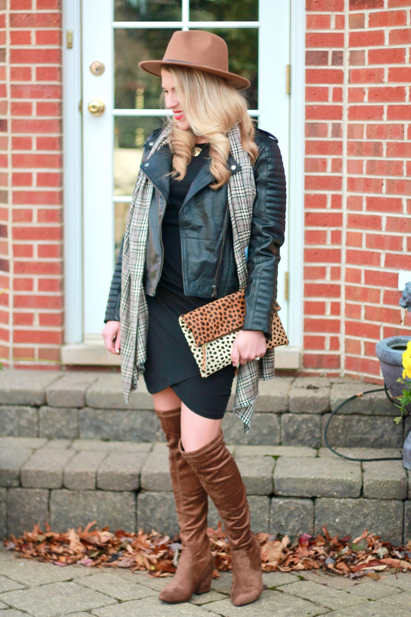 leather jacket day to night, hooded leather jacket, black ruched dress, OTK brown boots,