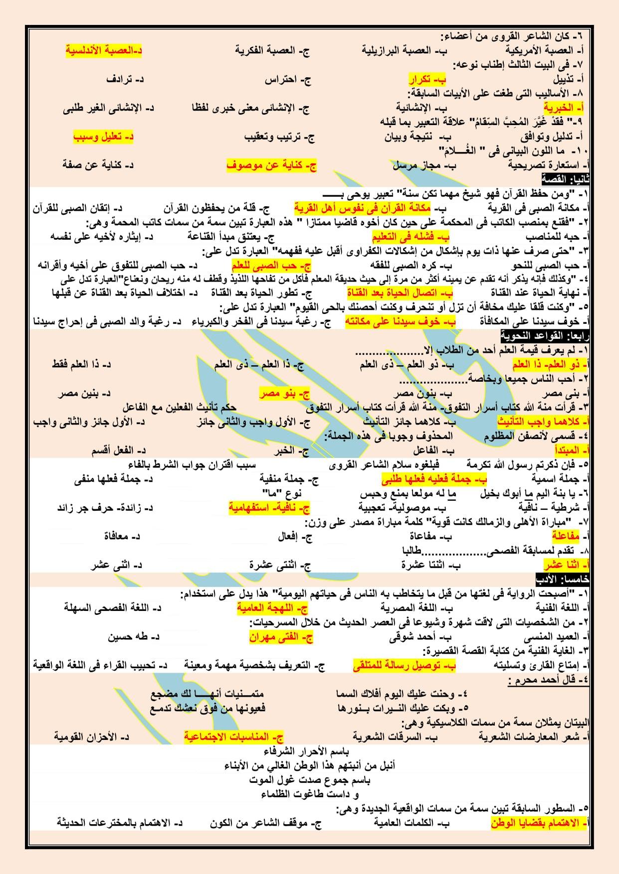 2 نموذج امتحان لغة عربية مجاب للصف الثالث الثانوي 2021 أ/ هاني الكردوني 17