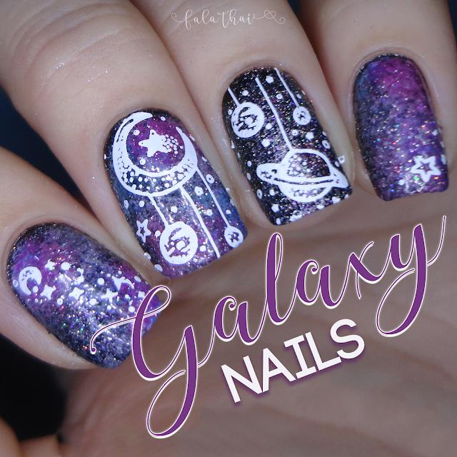 galaxy nails, unhas de galáxia