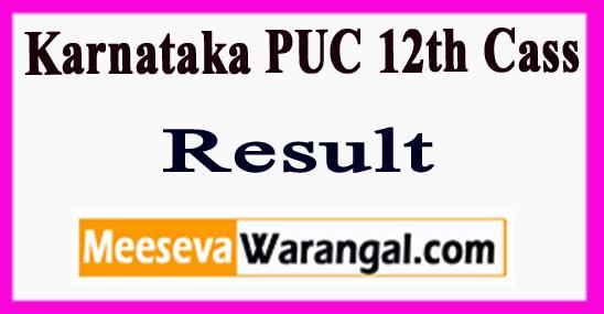 Karnataka PUC 12th Cass Results 2018