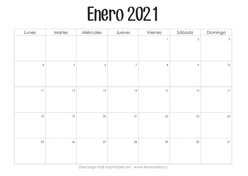 Calendario 2021 imprimible minimalista