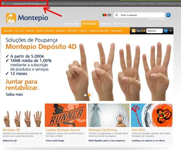 alerta de phishing para clientes do banco Montepio