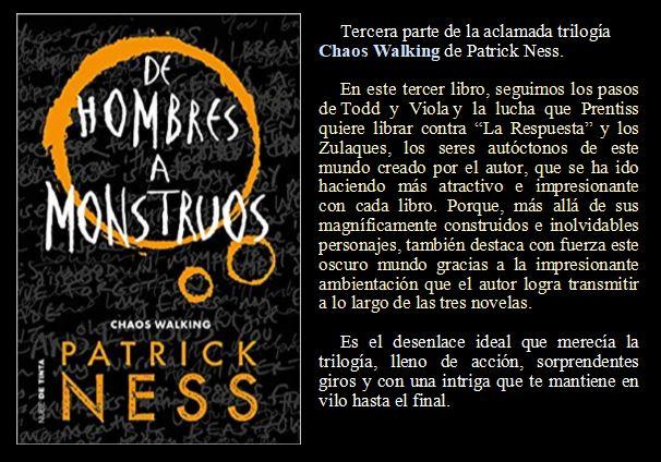De hombres a monstruos de Patrick Ness
