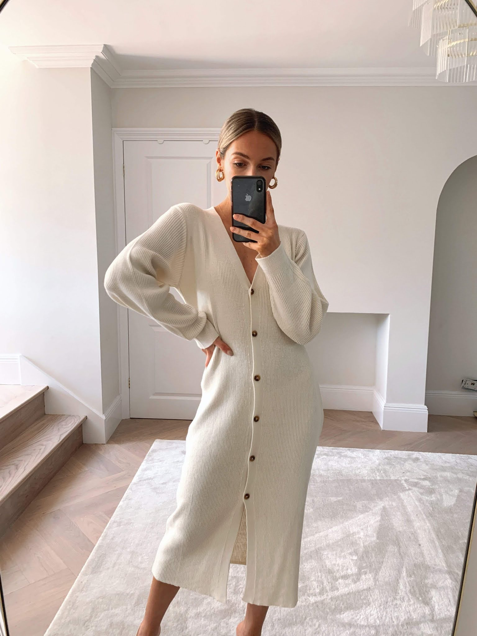 25 Best Sweaterdresses for Fall Outfits — White Button-Down Sweater Dress