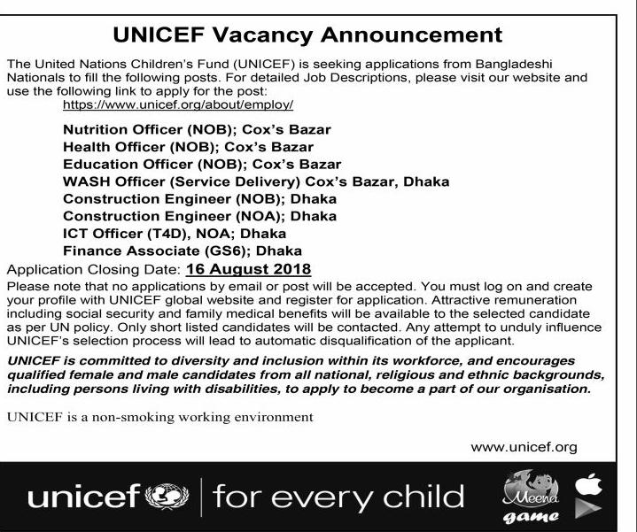 UNICEF Bangladesh Recruitment circular 2018