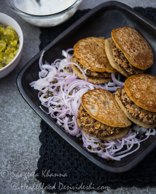 quinoa lentil patty and sourdough millet crumpet sandwiches