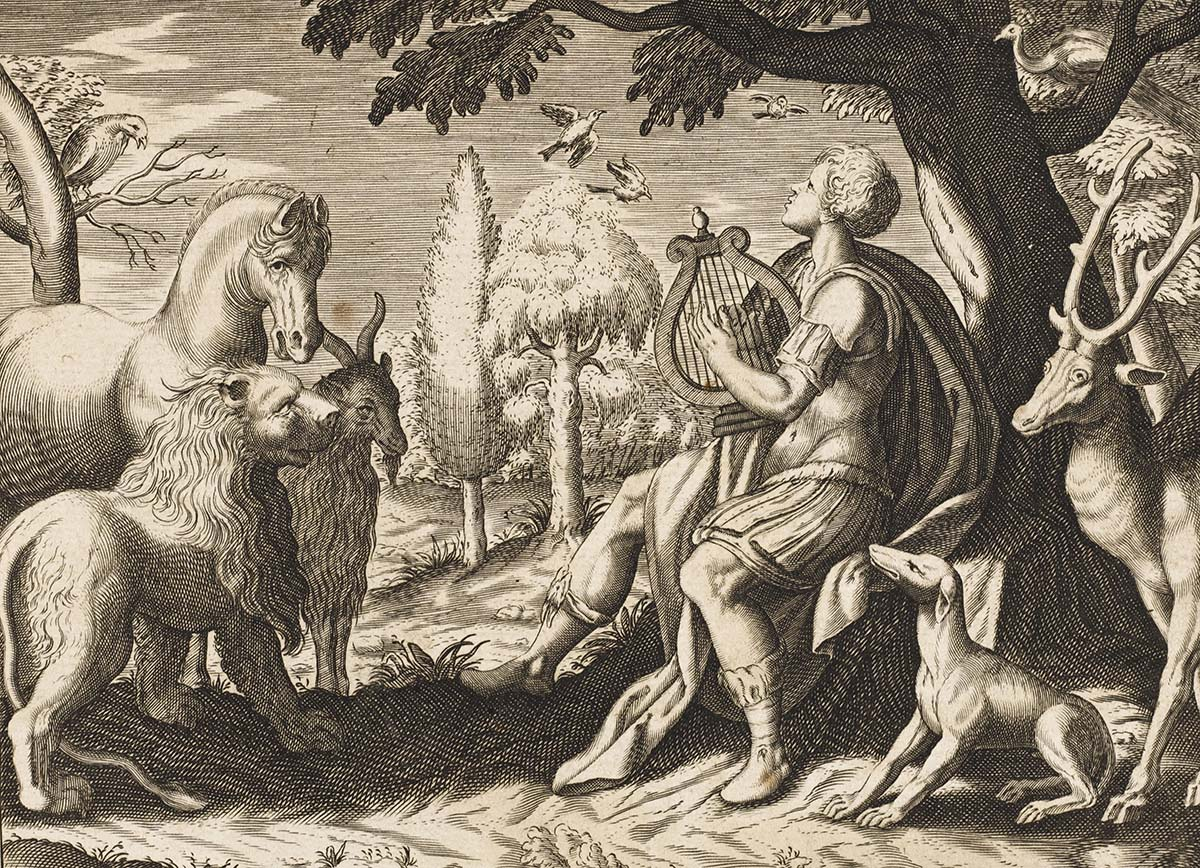 A woodcut print of Orpheus playing his lyre to a field of wild animals.