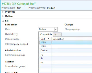 Screenshot showing Carton as an available unit for our item where we created the conversion.
