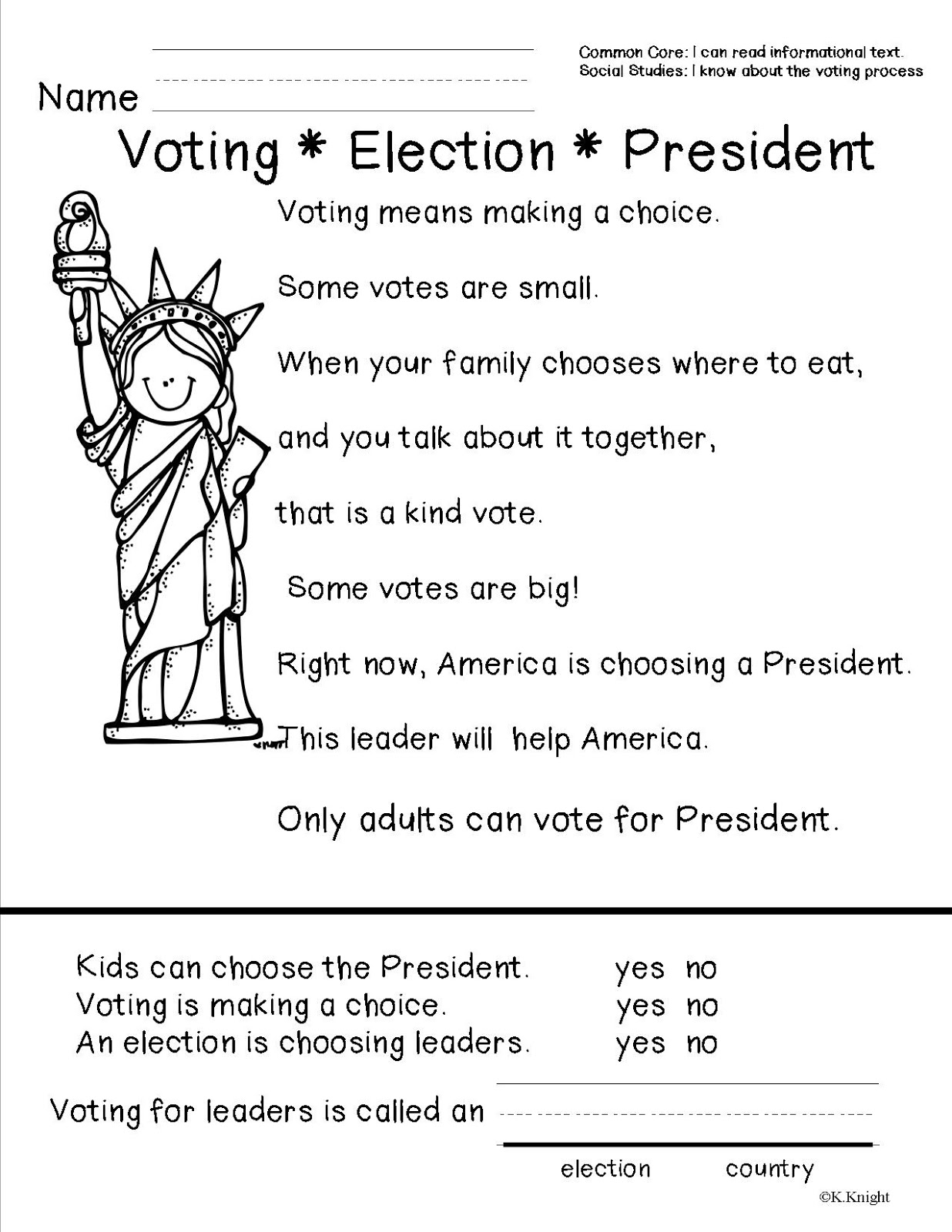 Election Day Worksheets For Preschool   Printable Worksheets and Activities  for Teachers [ 1600 x 1236 Pixel ]