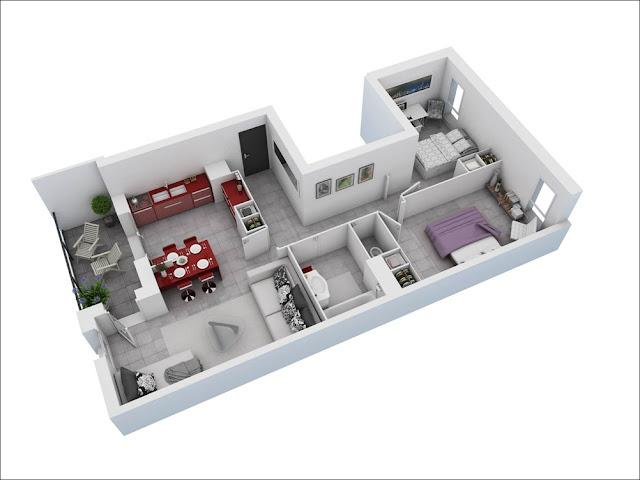 Planta de casa retangular de 2 quartos