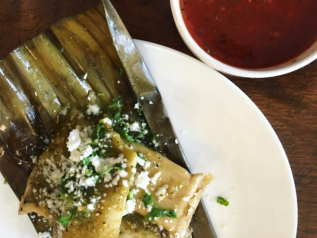 Banana leaf tamales with chile de arbor salsa