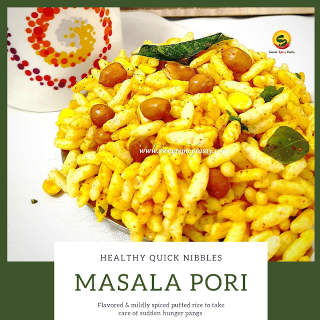 Masala Pori or Khara pori is a snack that can be put together in no time and takes care of the mid evening hunger pangs and is liked by people of all ages . Kadle.pori , masal pori , khara puri , sukha  bhel , masala mammara , sev mamra , khara mamra , sev kurmura .