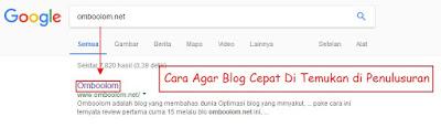 Agar blog cepat di index