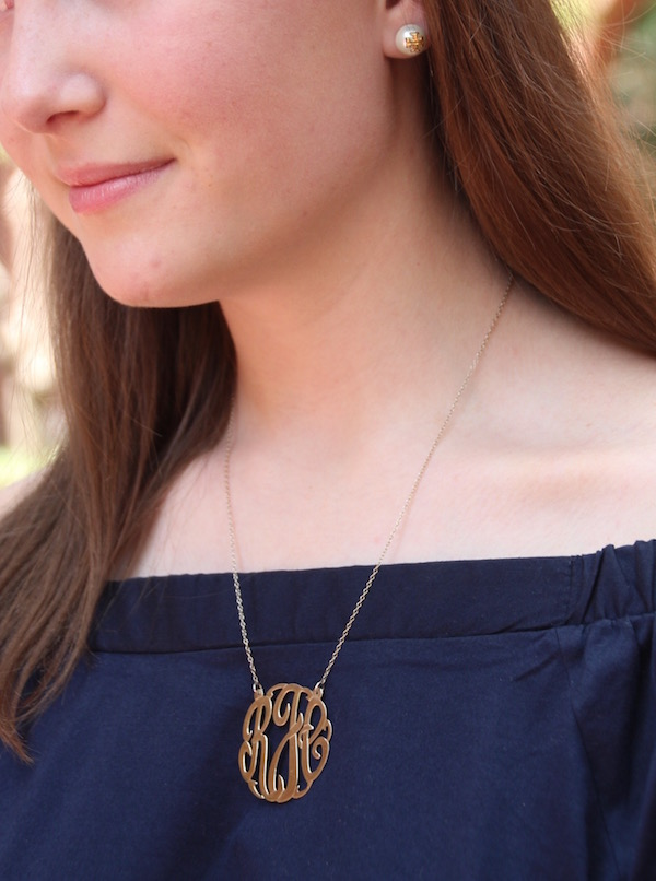 Gimme Glamour: Bloggers who Brunch. Cutout monogram necklace, Tory Burch pearl earrings
