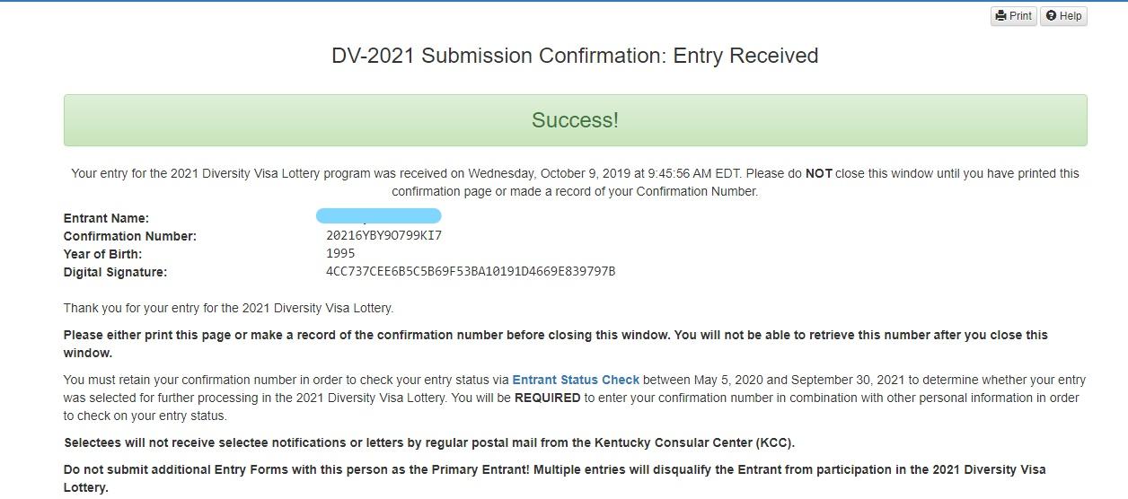 confirmation code sample for edv visa lottery 2022