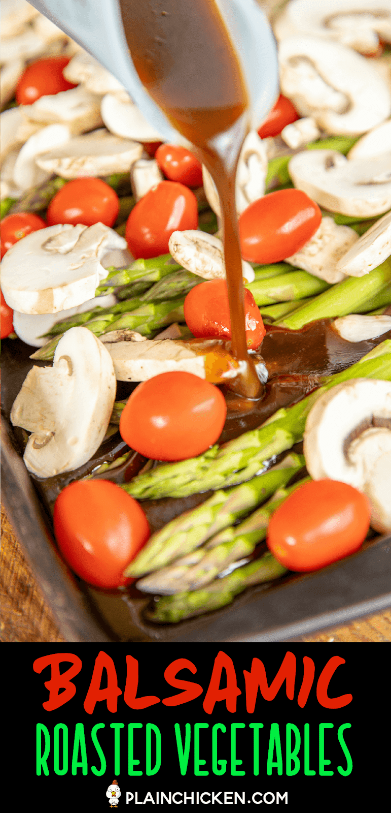 drizzling dressing over vegetables in a baking pan
