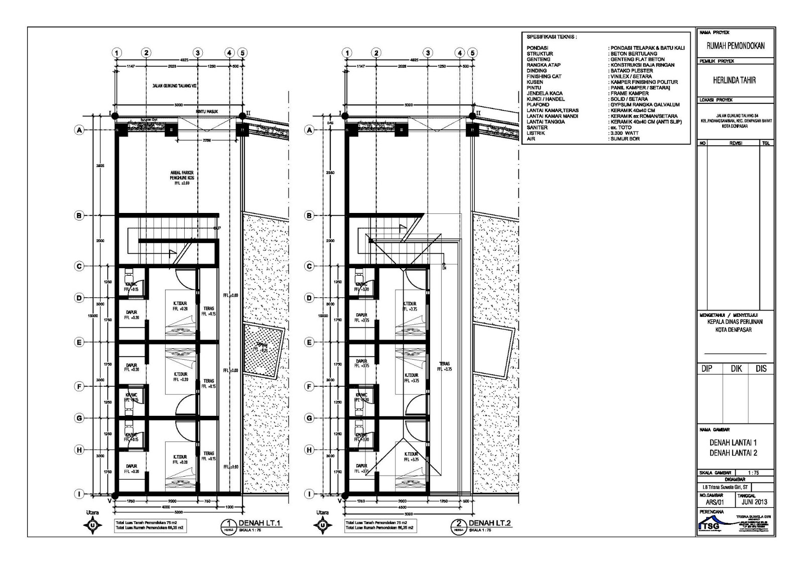 rumah kost minimalis 2 lantai dengan 6 kamar referensi rumah