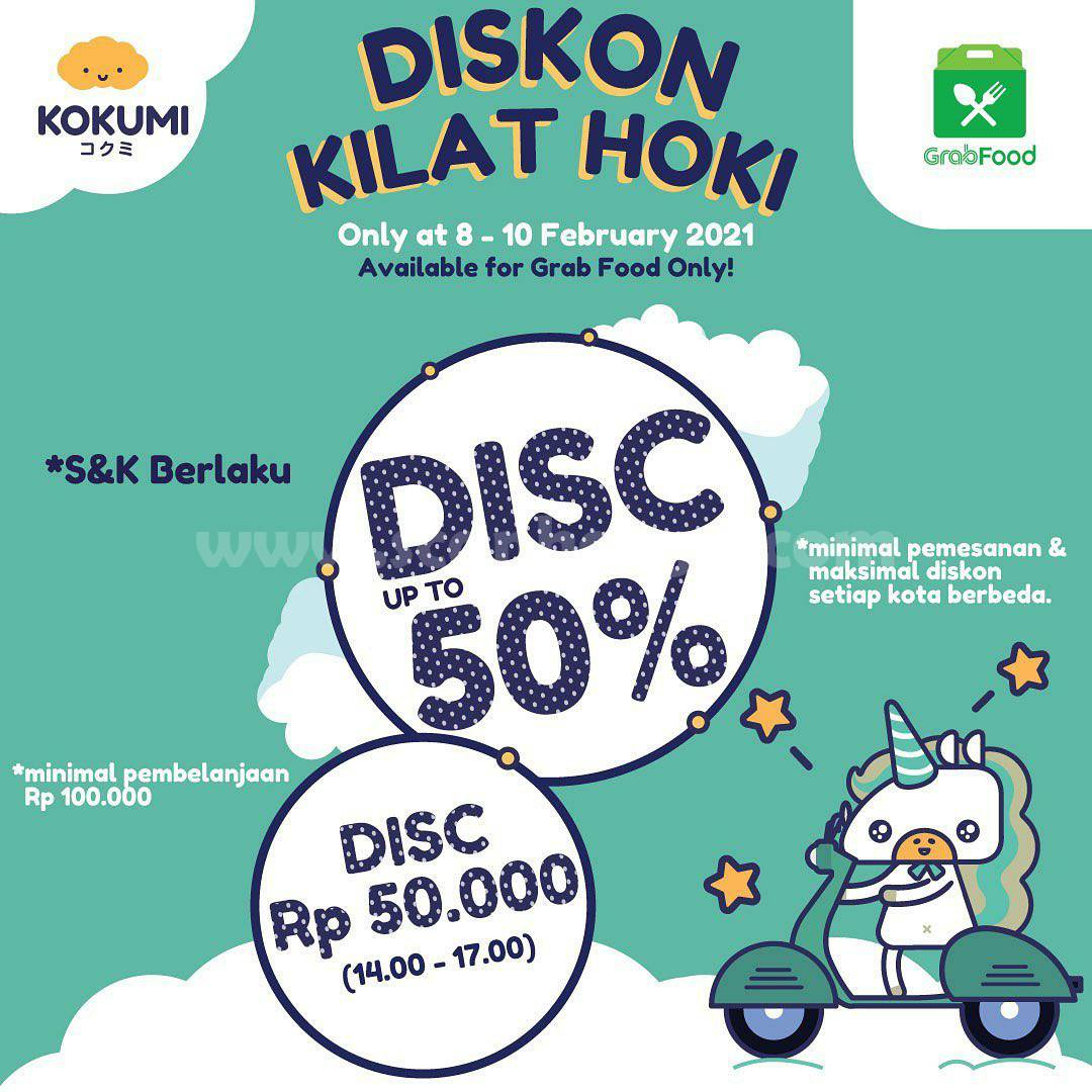 KOKUMI Promo DISKON KILAT HOKI GRABFOOD! Up to 50%