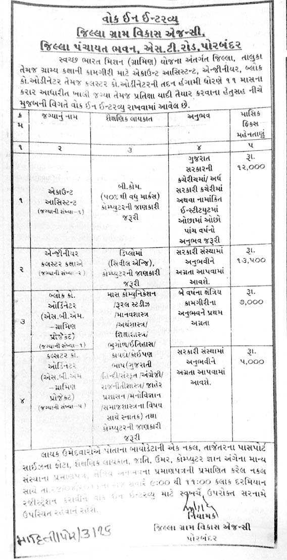 DRDA Porbandar Recruitment Various 2016