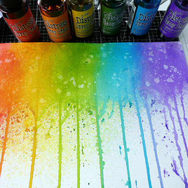 rainbow dripped distress ink spray stains