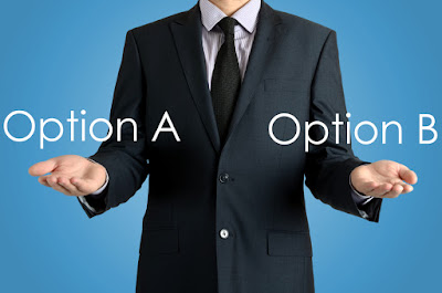 a man is weighing Option A against Option B