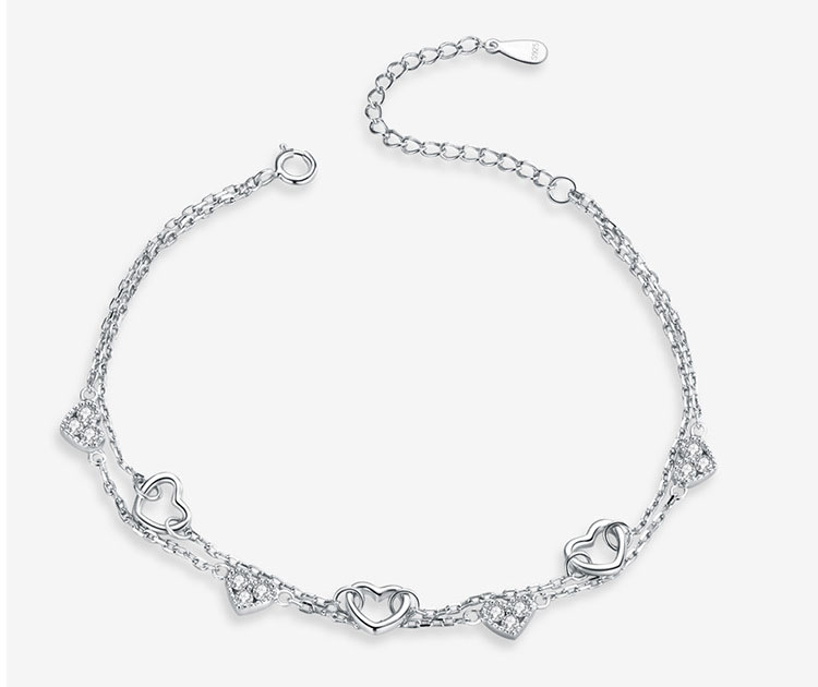 愛戀雙層愛心 925純銀手鍊
