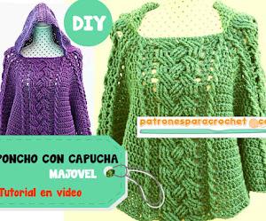 Poncho con capucha a crochet Tutorial en español 😍
