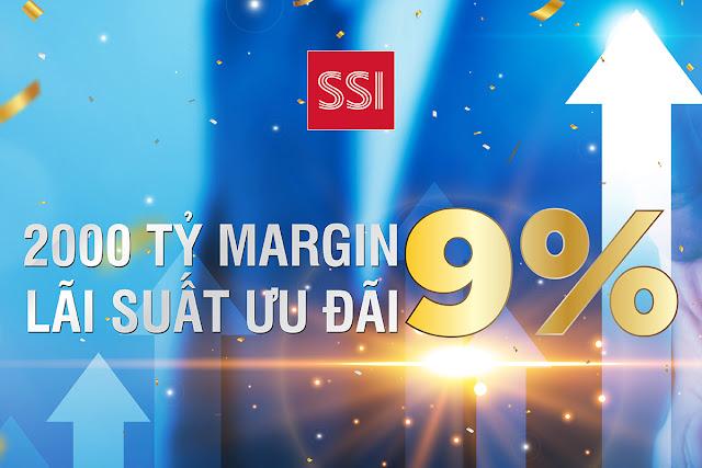 Công ty Cổ phần Chứng khoán SSI (Hose: SSI) triển khai 2.000 tỷ lãi suất margin 9%. Chương trình dành cho cả nhà đầu tư hiện tại và khách hàng mới của SSI.