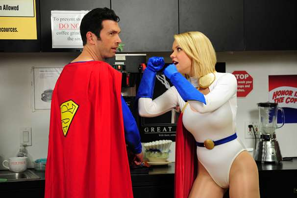 Superman with Power Girl cosplay