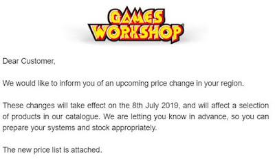 Subida de precios Games Workshop